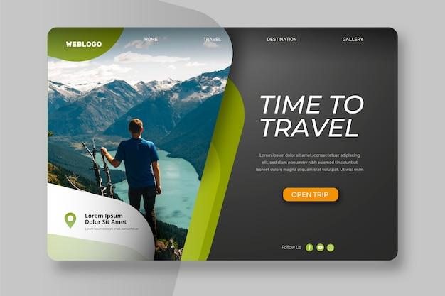Página de destino com foto de viagem