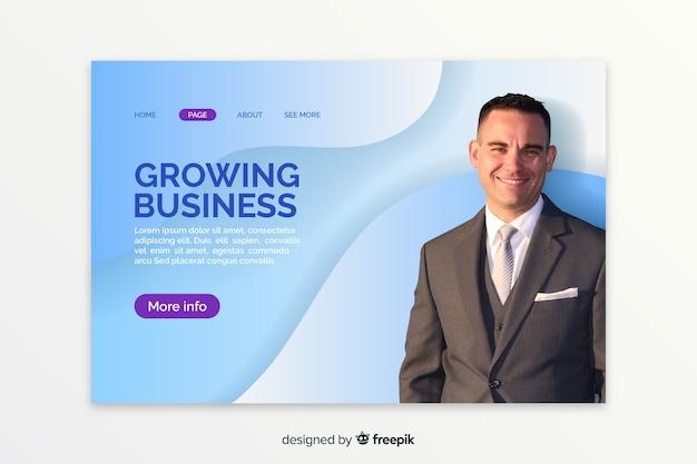 Página de destino com foto do empresário