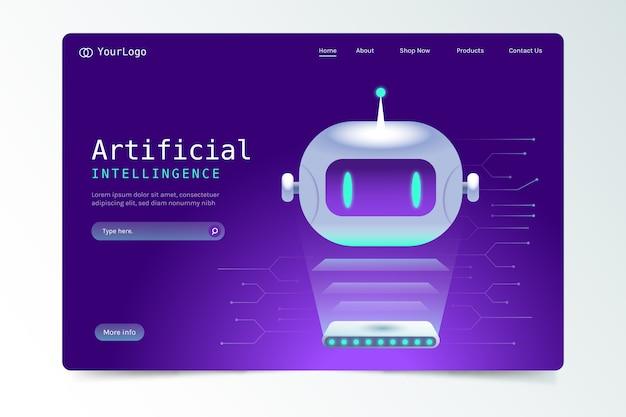 Página de destino com inteligência artificial