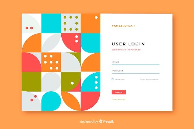 Página de destino com login e formas geométricas