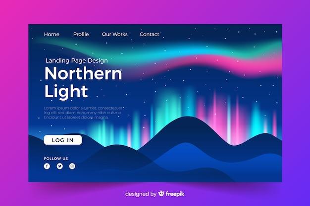 Página de destino com luzes brilhantes do norte