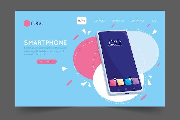 Página de destino com modelo de smartphone