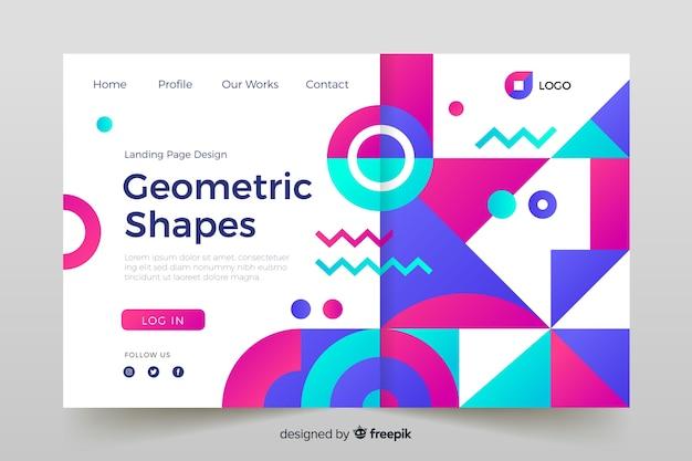Página de destino com modelos geométricos coloridos