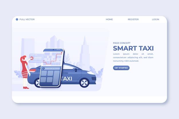 Página de destino com mulher solicitando serviço de táxi por meio de aplicativo móvel online na ilustração de smartphone