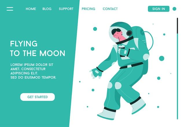 Página de destino com o astronauta, conceito voando para a lua