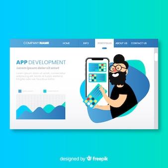 Página de destino com o conceito de desenvolvimento de aplicativos