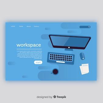 Página de destino com o conceito de espaço de trabalho