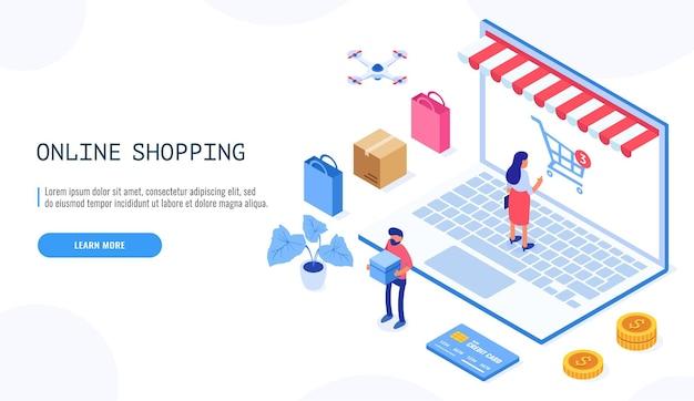 Página de destino com pessoas ou compradores