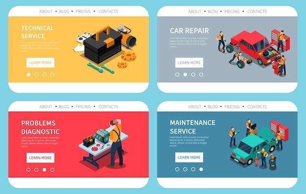 Página de destino com serviço técnico de substituição de peças de diagnóstico de problemas de reparação de automóveis