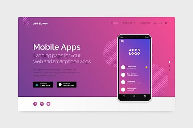 Página de destino com smartphone