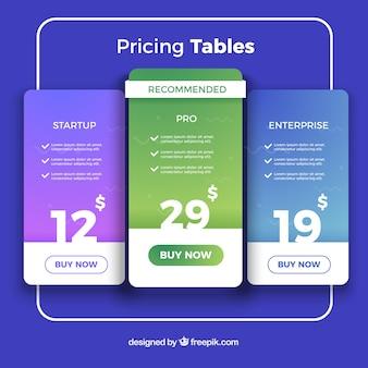 Página de destino com tabelas de preços