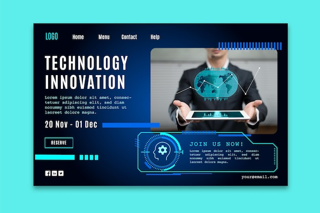 Página de destino com tecnologia futurística