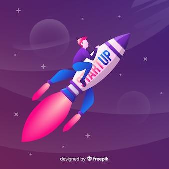 Página de destino com um foguete