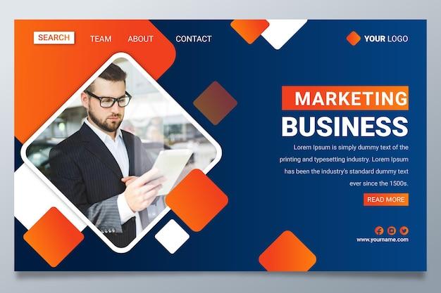 Página de destino comercial de marketing gradiente