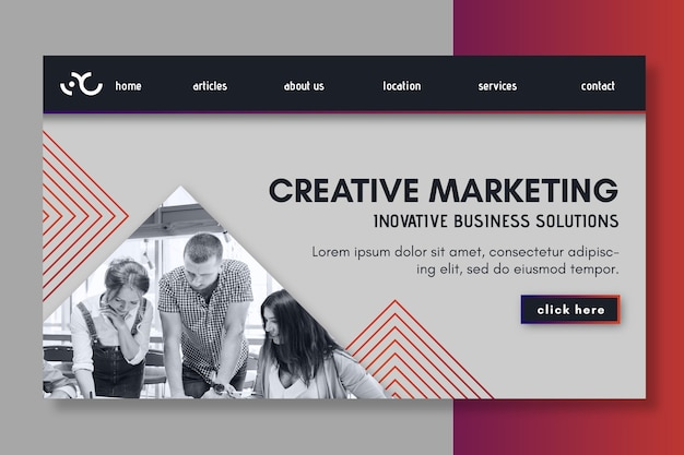 Página de destino comercial de marketing
