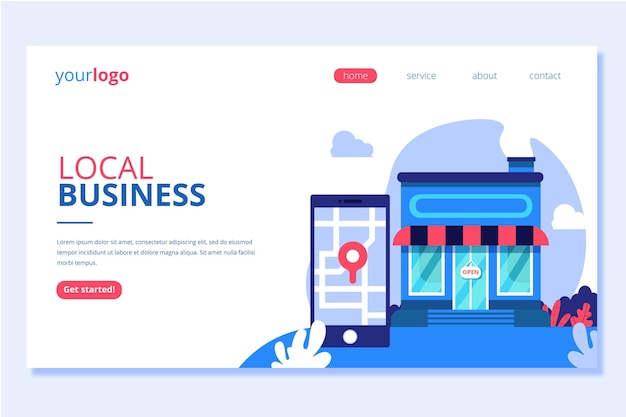 Página de destino comercial local e online