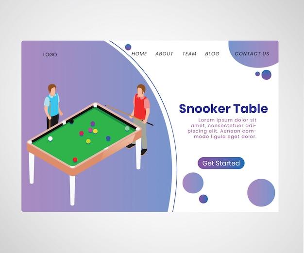 Página de destino. conceito de arte isométrica da mesa de snooker