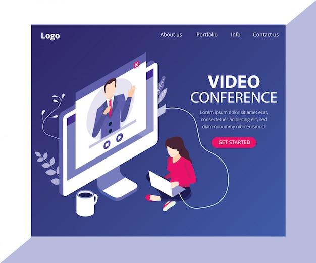 Página de destino. conceito de arte isométrica de videoconferência