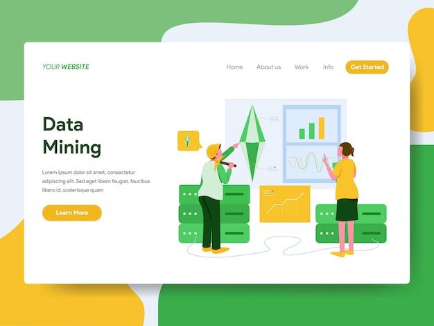 Página de destino. conceito de ilustração de mineração de dados