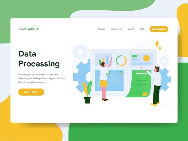 Página de destino. conceito de ilustração de processamento de dados