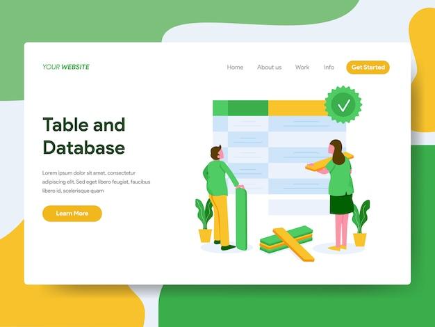 Página de destino. conceito de ilustração de tabela e banco de dados