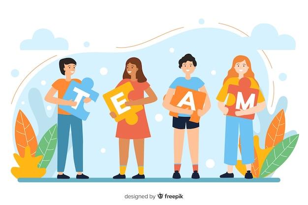 Página de destino conectando o conceito de equipes
