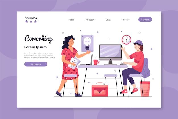 Página de destino coworking escritório desenhado à mão plana