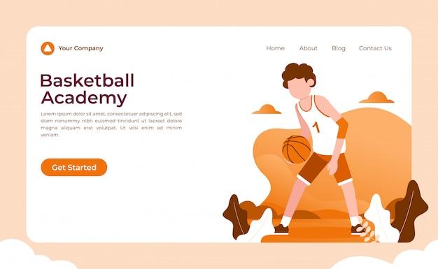 Página de destino da academia de basquete