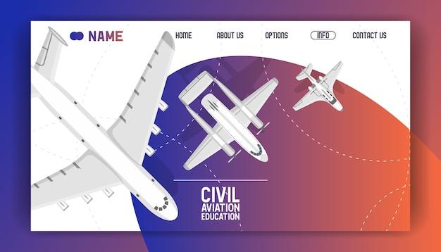 Página de destino da academia de treinamento da aviação civil.