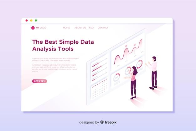 Página de destino da análise de dados isométrica