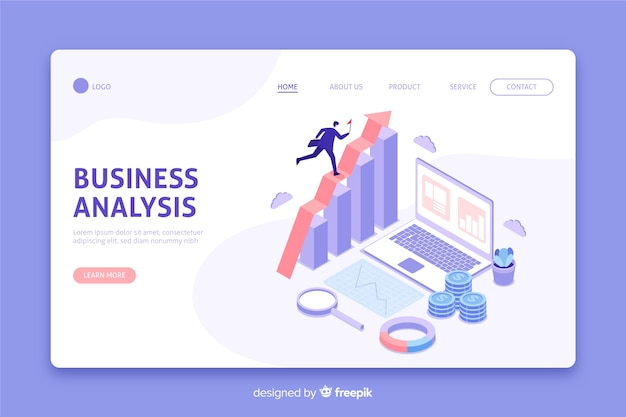 Página de destino da análise de negócios isométrica