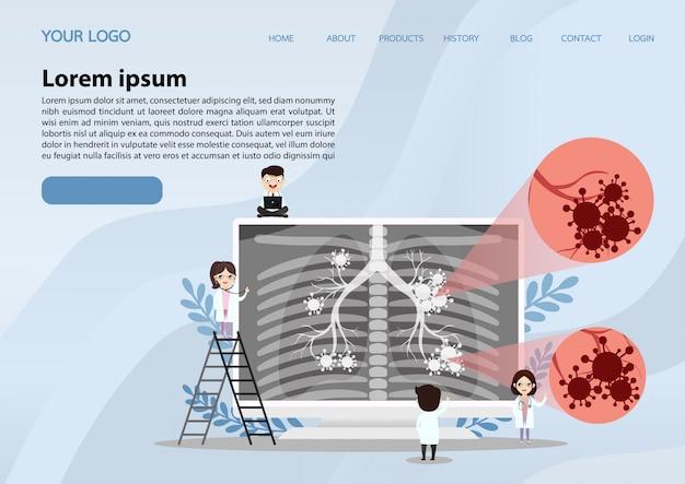 Página de destino da anatomia do órgão pulmonar
