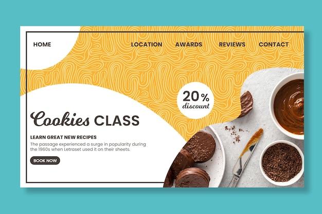 Página de destino da aula de confeitaria de biscoitos