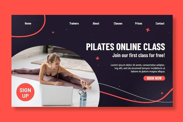 Página de destino da aula online de pilates