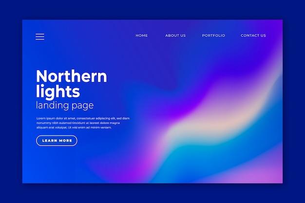 Página de destino da aurora boreal