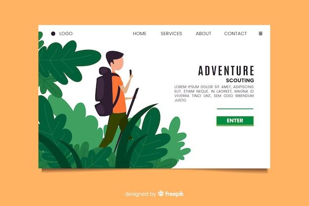 Página de destino da aventura de aferição