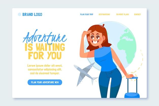 Página de destino da aventura de design plano