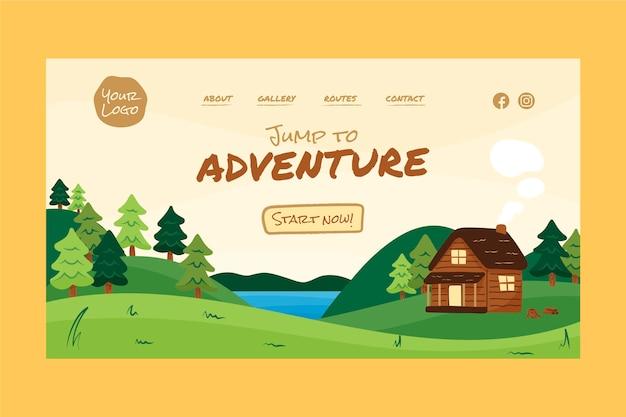 Página de destino da aventura desenhada à mão