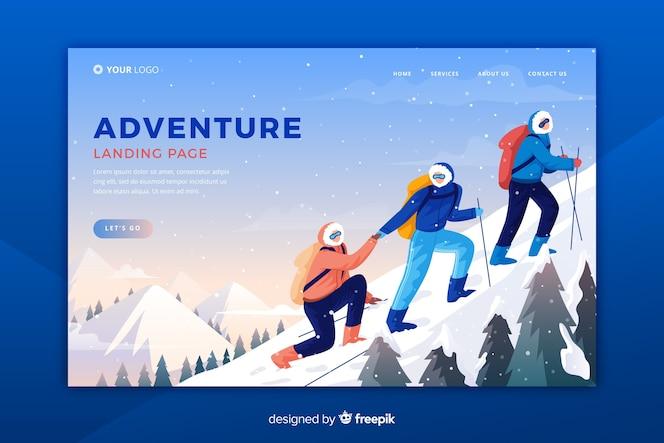 Página de destino da aventura do modelo