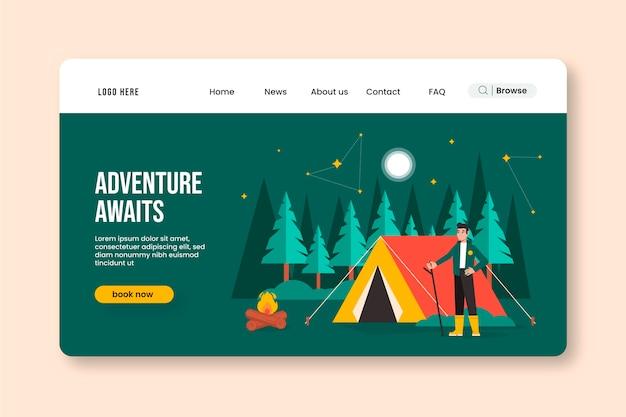 Página de destino da aventura plana