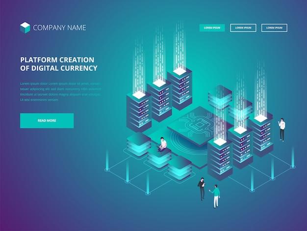 Página de destino da bandeira de criptomoeda e blockchain