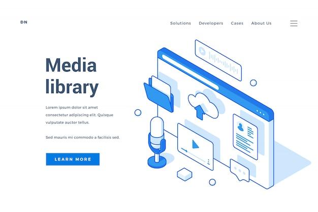 Página de destino da biblioteca de mídia
