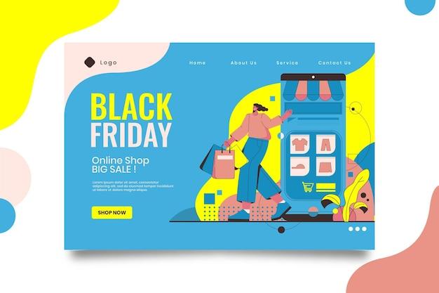 Página de destino da black friday Vetor Premium