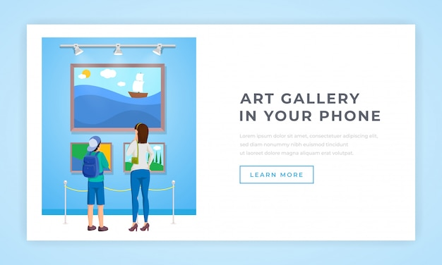Página de destino da coleção de obras de arte
