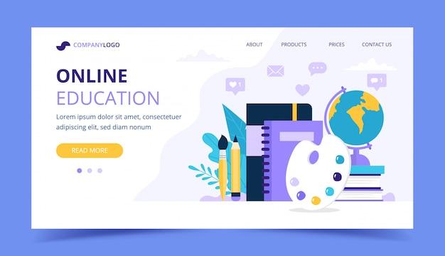 Página de destino da educação on-line com diferentes itens de estudo