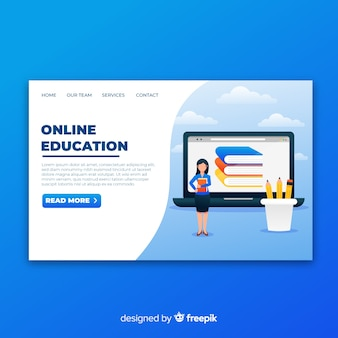Página de destino da educação on-line com ilustração