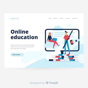 Página de destino da educação on-line com livros