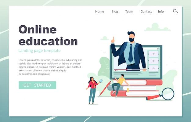 Página de destino da educação on-line. professor do sexo masculino dando aulas on-line. ilustração em estilo simples dos desenhos animados.