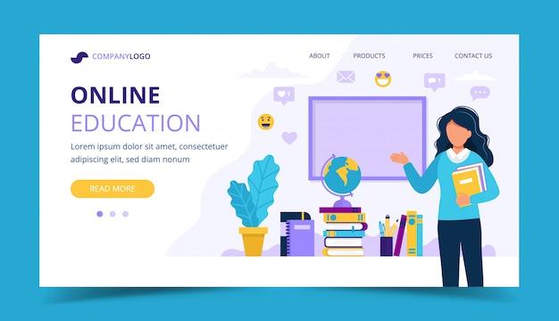 Página de destino da educação on-line. professora com livros e lousa.