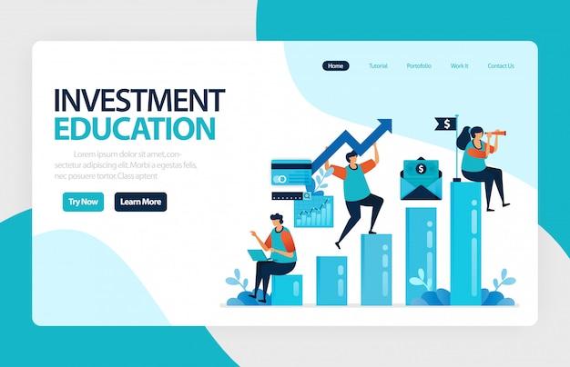 Página de destino da educação para investimentos